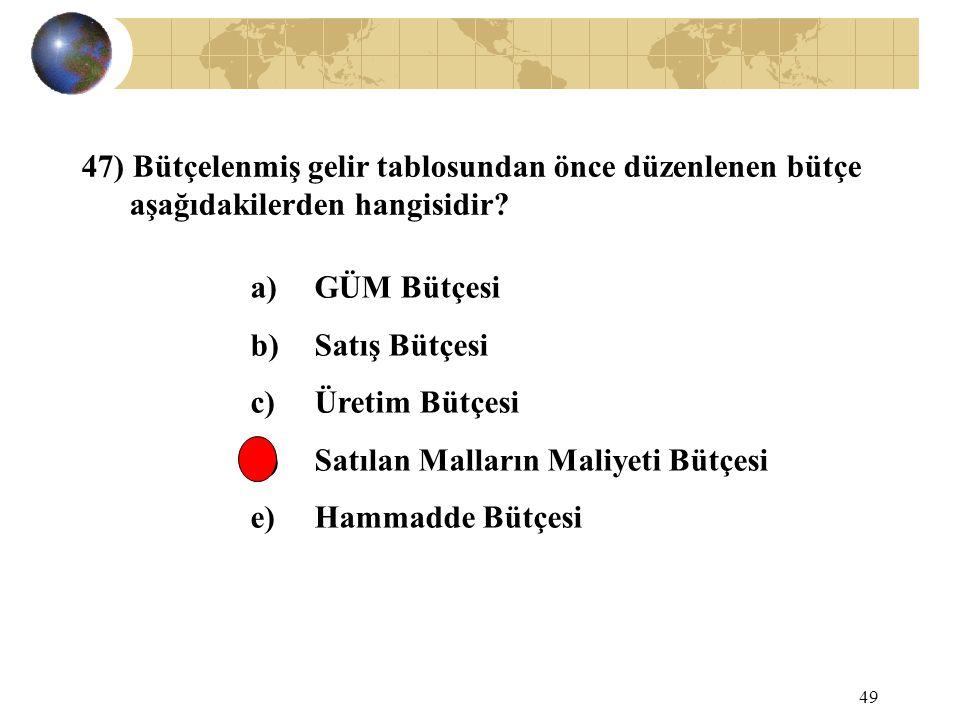 49 47) Bütçelenmiş gelir tablosundan önce düzenlenen bütçe aşağıdakilerden hangisidir? a) GÜM Bütçesi b) Satış Bütçesi c) Üretim Bütçesi d) Satılan Ma