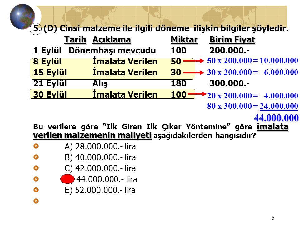 6 5. (D) Cinsi malzeme ile ilgili döneme ilişkin bilgiler şöyledir. TarihAçıklamaMiktarBirim Fiyat 1 Eylül Dönembaşı mevcudu100200.000.- 8 Eylülİmalat