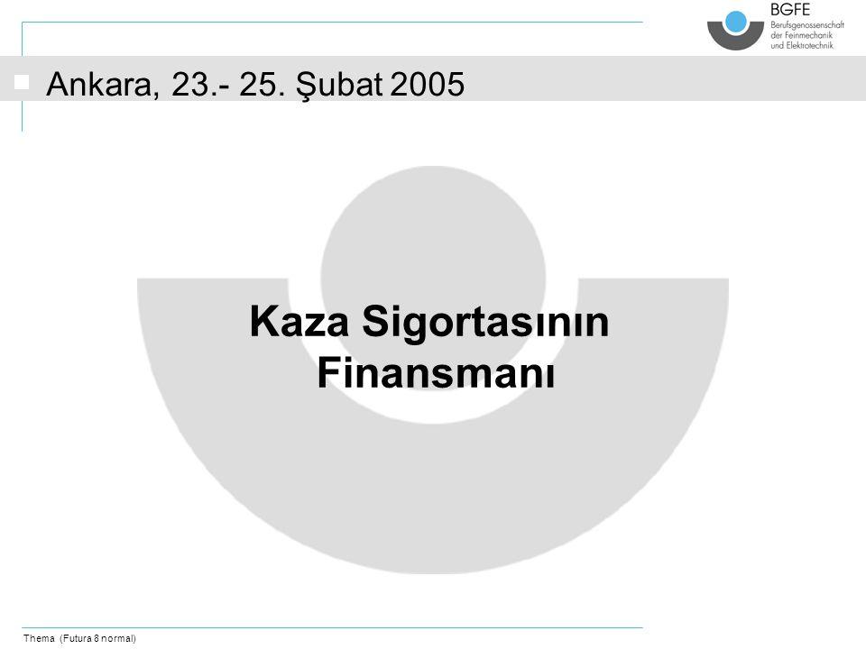 Thema (Futura 8 normal) Kaza Sigortasının Finansmanı Ankara, 23.- 25. Şubat 2005