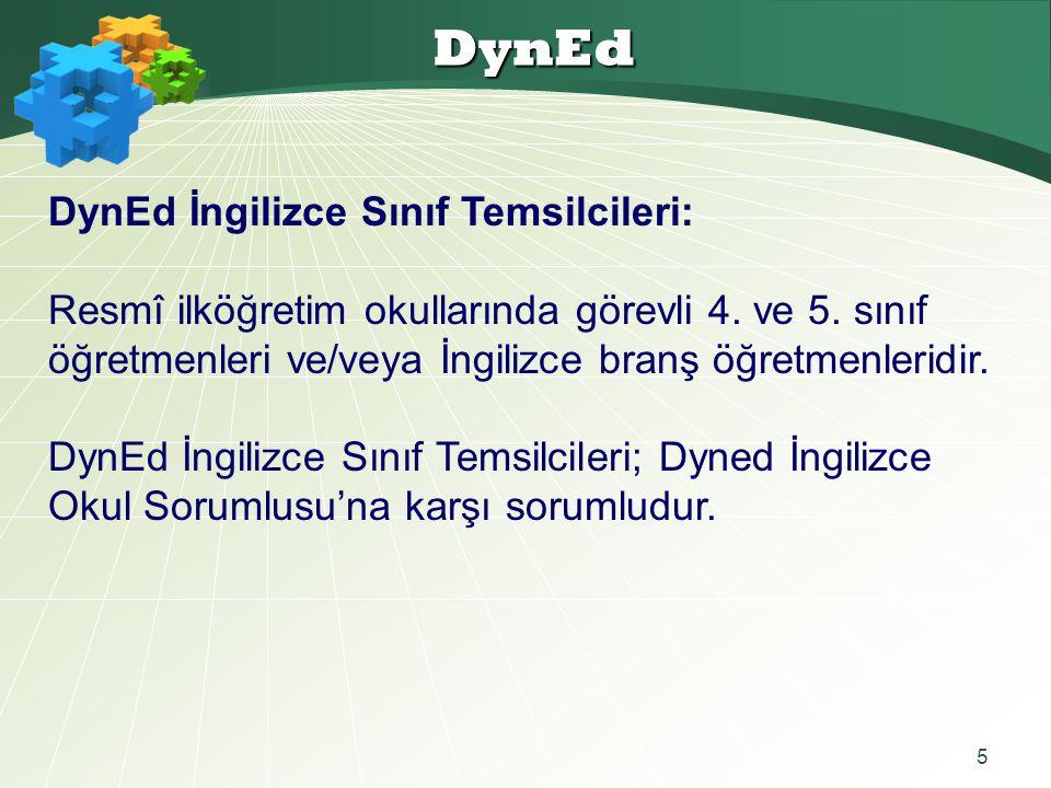 5 DynEd DynEd İngilizce Sınıf Temsilcileri: Resmî ilköğretim okullarında görevli 4. ve 5. sınıf öğretmenleri ve/veya İngilizce branş öğretmenleridir.