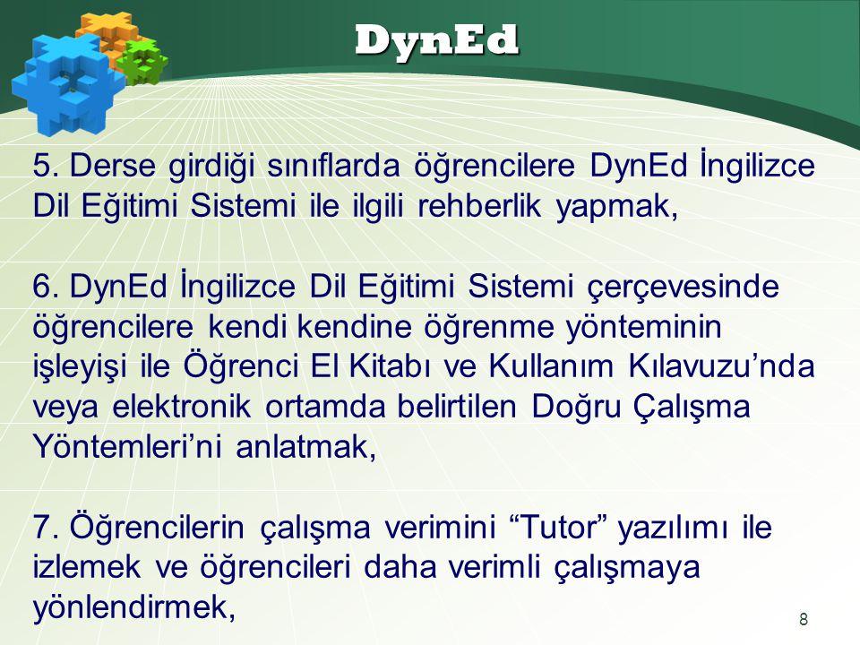 8 DynEd 5. Derse girdiği sınıflarda öğrencilere DynEd İngilizce Dil Eğitimi Sistemi ile ilgili rehberlik yapmak, 6. DynEd İngilizce Dil Eğitimi Sistem