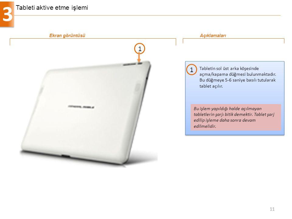 3 11 Tabletin sol üst arka köşesinde açma/kapama düğmesi bulunmaktadır. Bu düğmeye 5-6 saniye basılı tutularak tablet açılır. 1 Ekran görüntüsüAçıklam
