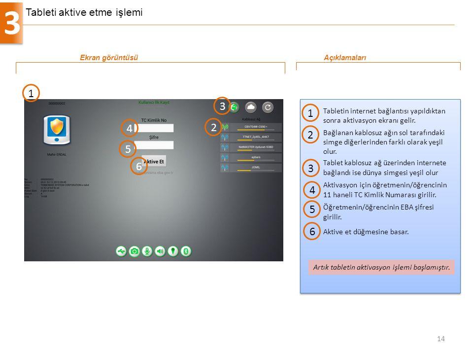 3 14 Tabletin internet bağlantısı yapıldıktan sonra aktivasyon ekranı gelir. 1 Ekran görüntüsüAçıklamaları 1 Artık tabletin aktivasyon işlemi başlamış