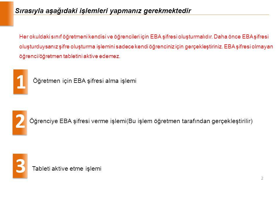 Sırasıyla aşağıdaki işlemleri yapmanız gerekmektedir Öğretmen için EBA şifresi alma işlemi 1 Öğrenciye EBA şifresi verme işlemi(Bu işlem öğretmen tara