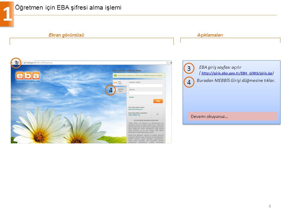 Öğretmen için EBA şifresi alma işlemi 1 4 EBA giriş sayfası açılır ( http://giris.eba.gov.tr/EBA_GIRIS/giris.jsp ) http://giris.eba.gov.tr/EBA_GIRIS/g