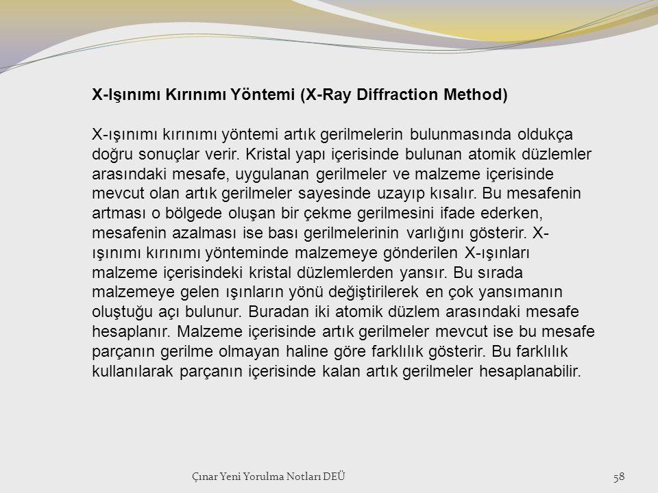 Çınar Yeni Yorulma Notları DEÜ58 X-Işınımı Kırınımı Yöntemi (X-Ray Diffraction Method) X-ışınımı kırınımı yöntemi artık gerilmelerin bulunmasında oldu