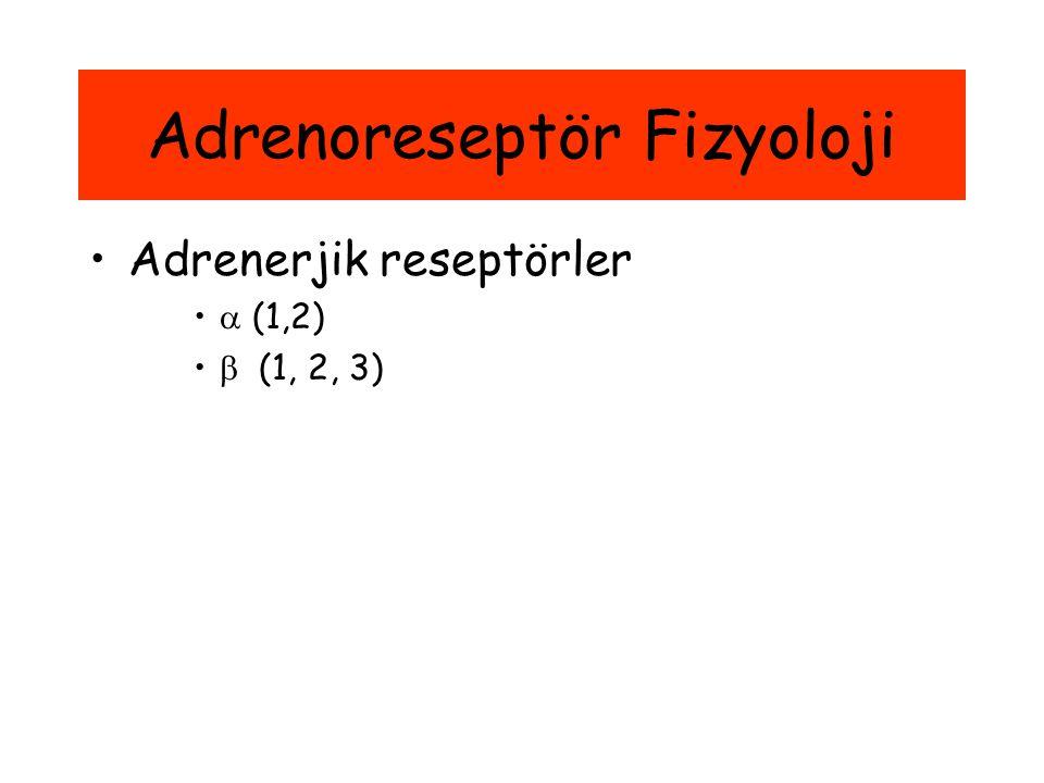 Adrenoreseptör Fizyoloji Adrenerjik reseptörler  (1,2)  (1, 2, 3)