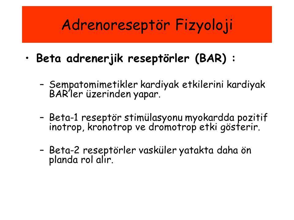 Beta adrenerjik reseptörler (BAR) : –Sempatomimetikler kardiyak etkilerini kardiyak BAR'ler üzerinden yapar. –Beta-1 reseptör stimülasyonu myokardda p