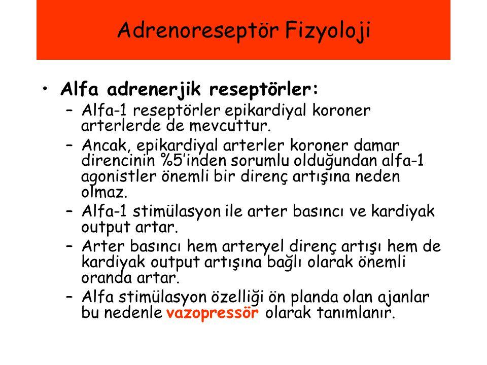 Alfa adrenerjik reseptörler: –Alfa-1 reseptörler epikardiyal koroner arterlerde de mevcuttur. –Ancak, epikardiyal arterler koroner damar direncinin %5