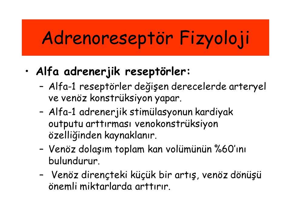 Adrenoreseptör Fizyoloji Alfa adrenerjik reseptörler: –Alfa-1 reseptörler değişen derecelerde arteryel ve venöz konstrüksiyon yapar. –Alfa-1 adrenerji
