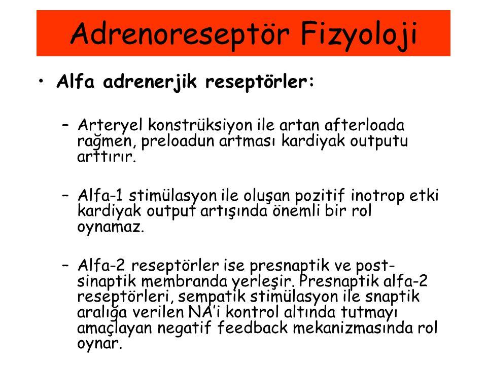 Alfa adrenerjik reseptörler: –Arteryel konstrüksiyon ile artan afterloada rağmen, preloadun artması kardiyak outputu arttırır. –Alfa-1 stimülasyon ile