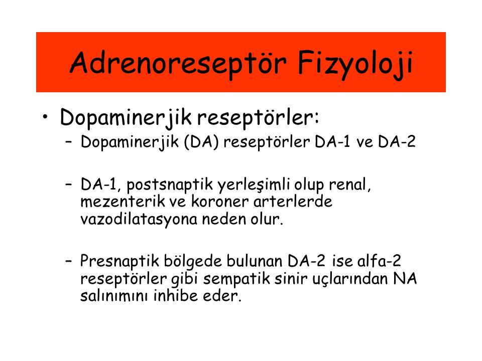 Adrenoreseptör Fizyoloji Dopaminerjik reseptörler: –Dopaminerjik (DA) reseptörler DA-1 ve DA-2 –DA-1, postsnaptik yerleşimli olup renal, mezenterik ve