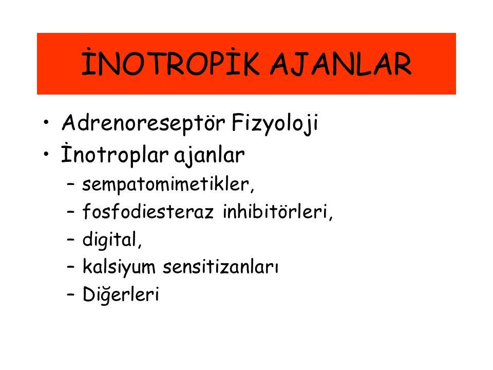 İNOTROPİK AJANLAR Adrenoreseptör Fizyoloji İnotroplar ajanlar –sempatomimetikler, –fosfodiesteraz inhibitörleri, –digital, –kalsiyum sensitizanları –D
