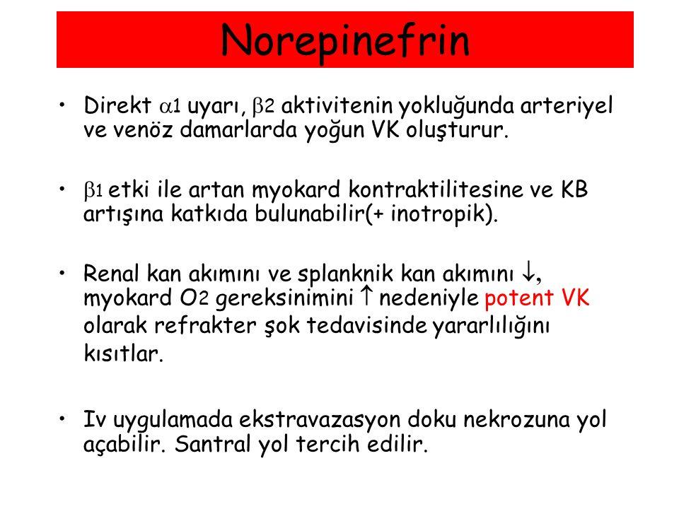 Norepinefrin Direkt  1 uyarı,  2 aktivitenin yokluğunda arteriyel ve venöz damarlarda yoğun VK oluşturur.  1 etki ile artan myokard kontraktilitesi