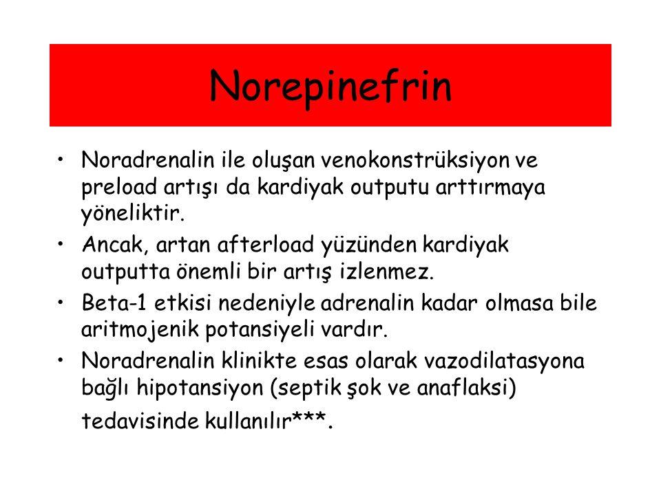 Norepinefrin Noradrenalin ile oluşan venokonstrüksiyon ve preload artışı da kardiyak outputu arttırmaya yöneliktir. Ancak, artan afterload yüzünden ka