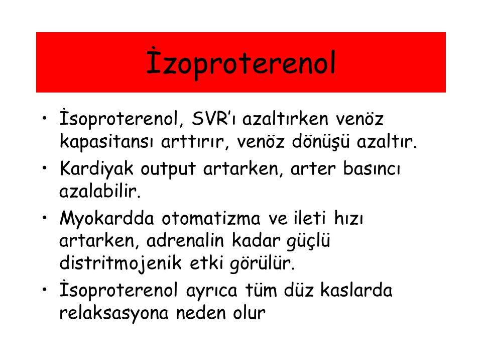 İsoproterenol, SVR'ı azaltırken venöz kapasitansı arttırır, venöz dönüşü azaltır. Kardiyak output artarken, arter basıncı azalabilir. Myokardda otomat