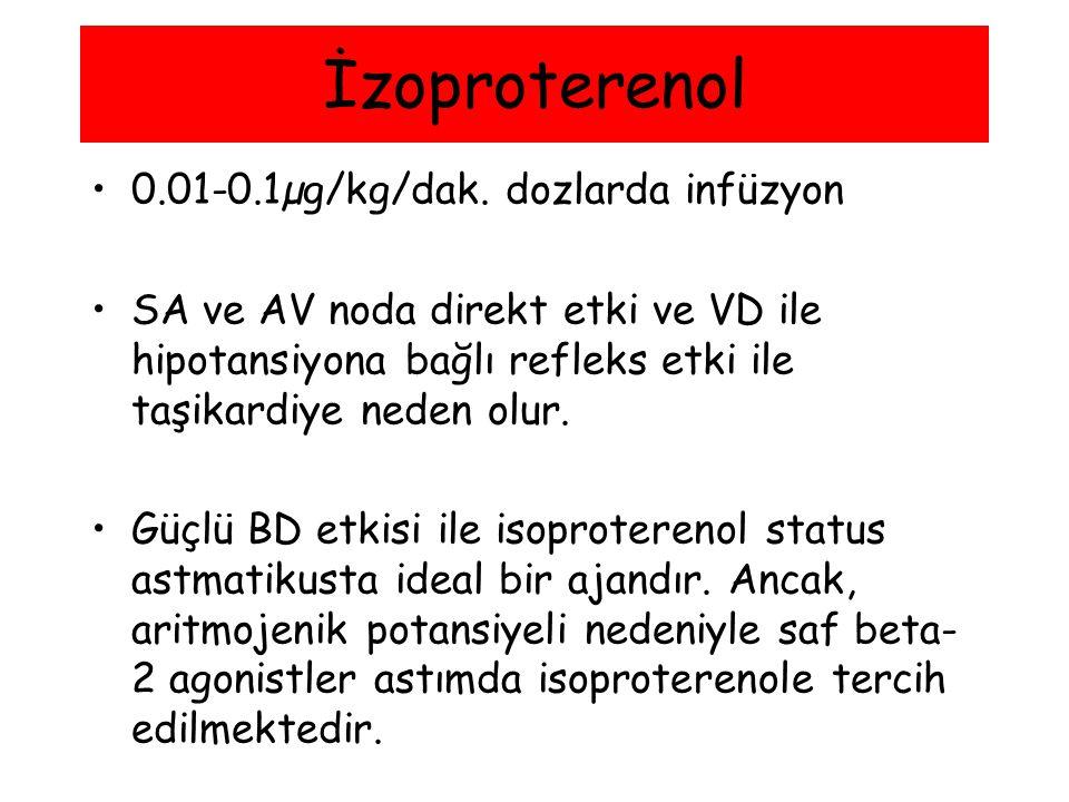 0.01-0.1µg/kg/dak. dozlarda infüzyon SA ve AV noda direkt etki ve VD ile hipotansiyona bağlı refleks etki ile taşikardiye neden olur. Güçlü BD etkisi