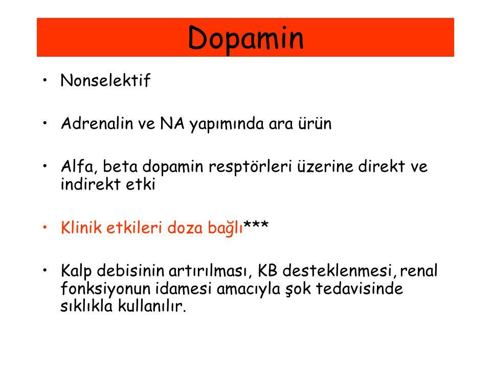 Dopamin Nonselektif Adrenalin ve NA yapımında ara ürün Alfa, beta dopamin resptörleri üzerine direkt ve indirekt etki Klinik etkileri doza bağlı*** Ka