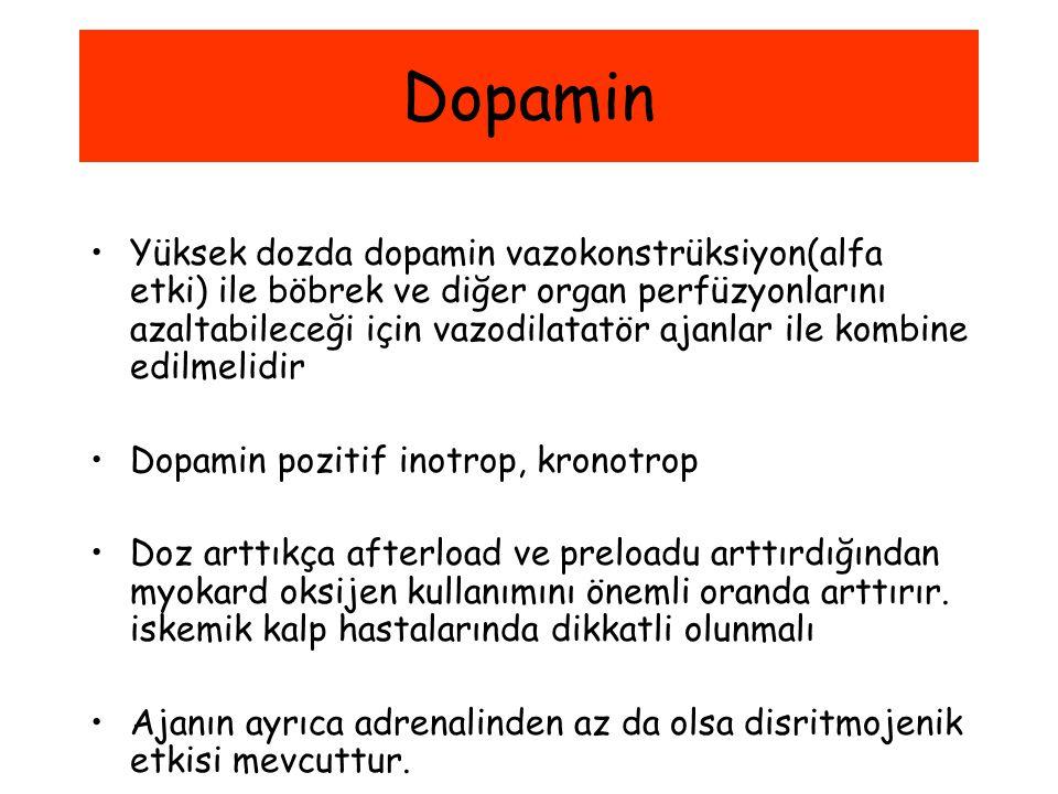 Dopamin Yüksek dozda dopamin vazokonstrüksiyon(alfa etki) ile böbrek ve diğer organ perfüzyonlarını azaltabileceği için vazodilatatör ajanlar ile komb