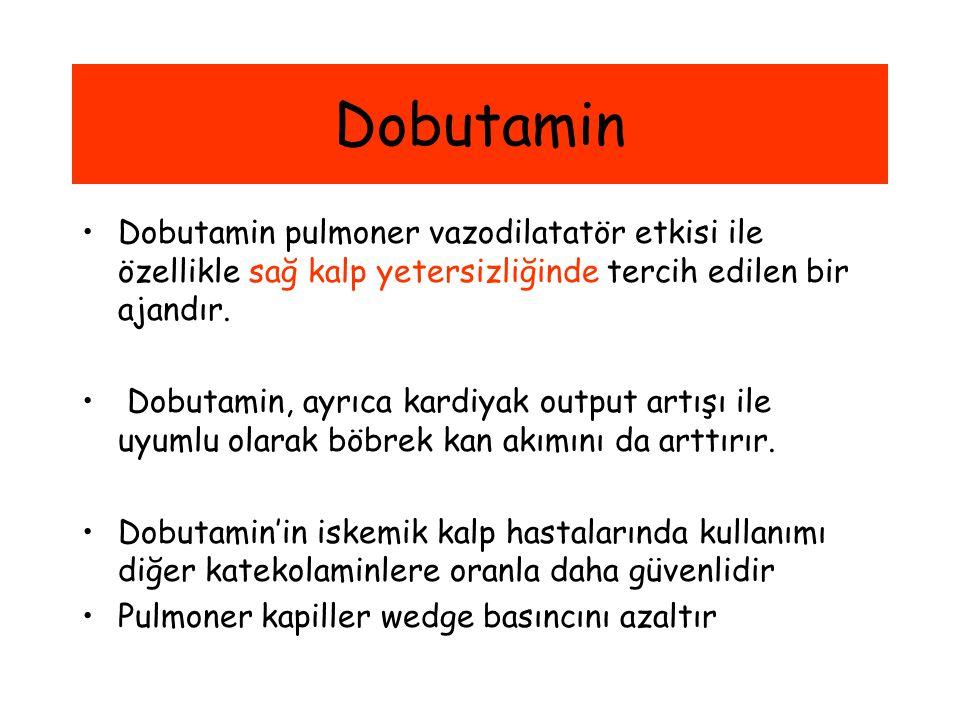 Dobutamin Dobutamin pulmoner vazodilatatör etkisi ile özellikle sağ kalp yetersizliğinde tercih edilen bir ajandır. Dobutamin, ayrıca kardiyak output