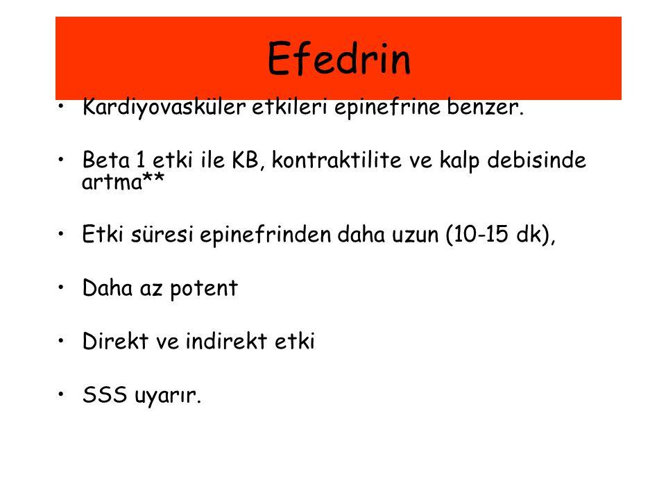 Efedrin Kardiyovasküler etkileri epinefrine benzer. Beta 1 etki ile KB, kontraktilite ve kalp debisinde artma** Etki süresi epinefrinden daha uzun (10