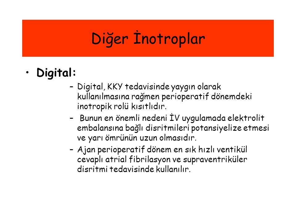 Diğer İnotroplar Digital: –Digital, KKY tedavisinde yaygın olarak kullanılmasına rağmen perioperatif dönemdeki inotropik rolü kısıtlıdır. – Bunun en ö