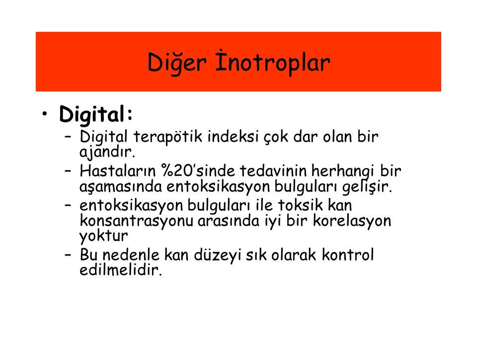 Diğer İnotroplar Digital: –Digital terapötik indeksi çok dar olan bir ajandır. –Hastaların %20'sinde tedavinin herhangi bir aşamasında entoksikasyon b