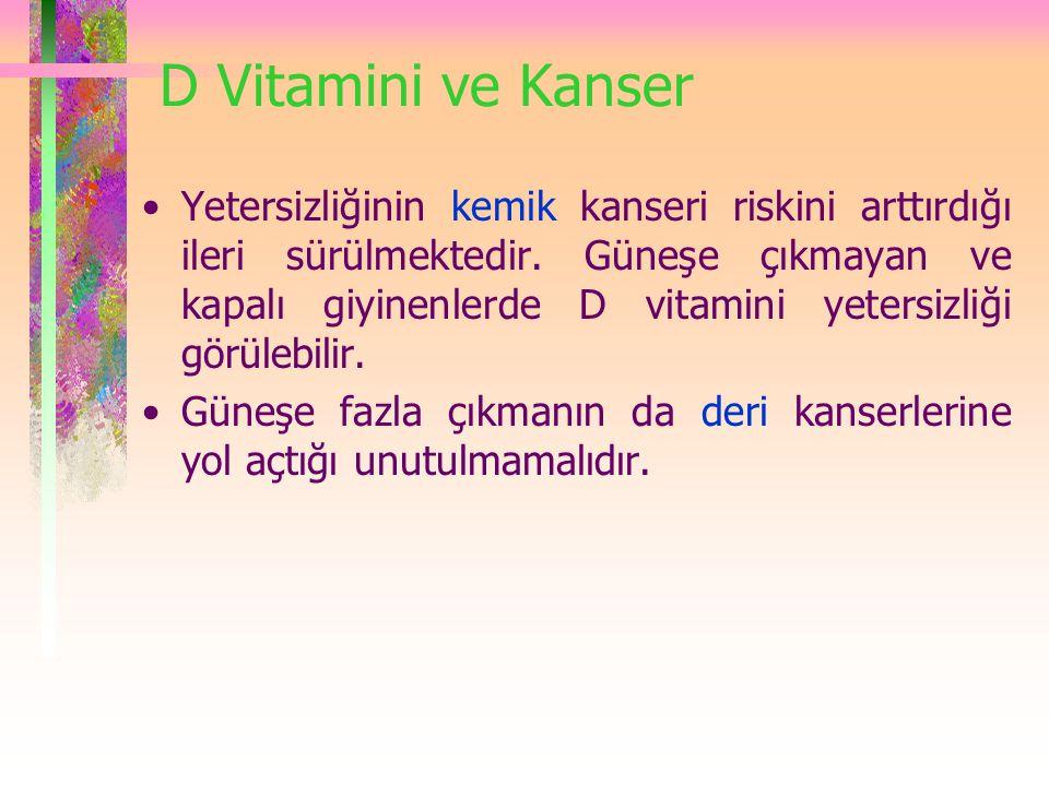 D Vitamini ve Kanser Yetersizliğinin kemik kanseri riskini arttırdığı ileri sürülmektedir. Güneşe çıkmayan ve kapalı giyinenlerde D vitamini yetersizl