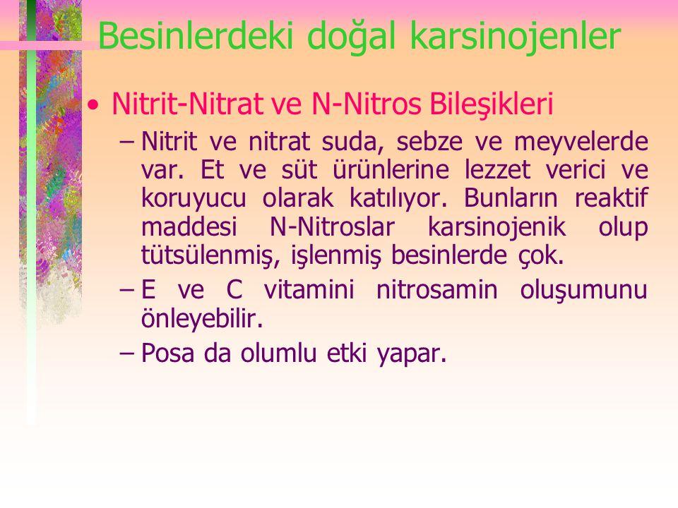 Besinlerdeki doğal karsinojenler Nitrit-Nitrat ve N-Nitros Bileşikleri –Nitrit ve nitrat suda, sebze ve meyvelerde var.