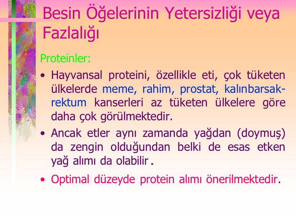 Besin Öğelerinin Yetersizliği veya Fazlalığı Proteinler: Hayvansal proteini, özellikle eti, çok tüketen ülkelerde meme, rahim, prostat, kalınbarsak- r