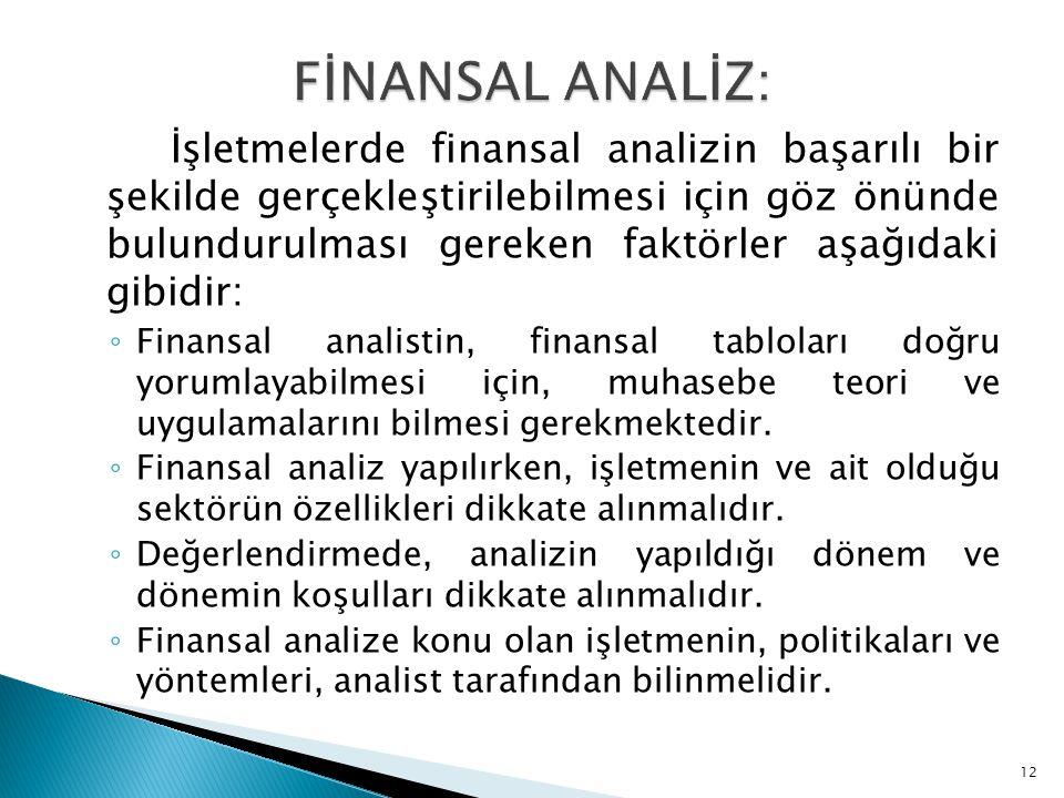 İşletmelerde finansal analizin başarılı bir şekilde gerçekleştirilebilmesi için göz önünde bulundurulması gereken faktörler aşağıdaki gibidir: ◦ Finan