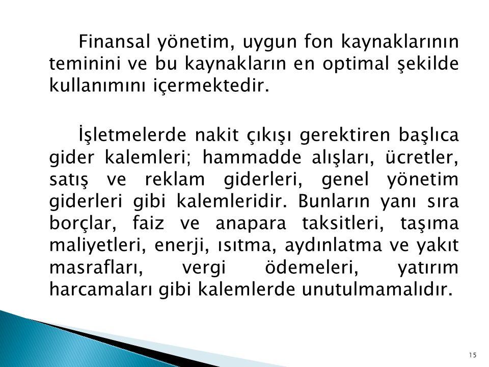 Finansal yönetim, uygun fon kaynaklarının teminini ve bu kaynakların en optimal şekilde kullanımını içermektedir. İşletmelerde nakit çıkışı gerektiren
