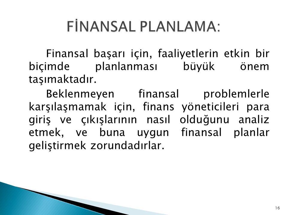 Finansal başarı için, faaliyetlerin etkin bir biçimde planlanması büyük önem taşımaktadır. Beklenmeyen finansal problemlerle karşılaşmamak için, finan