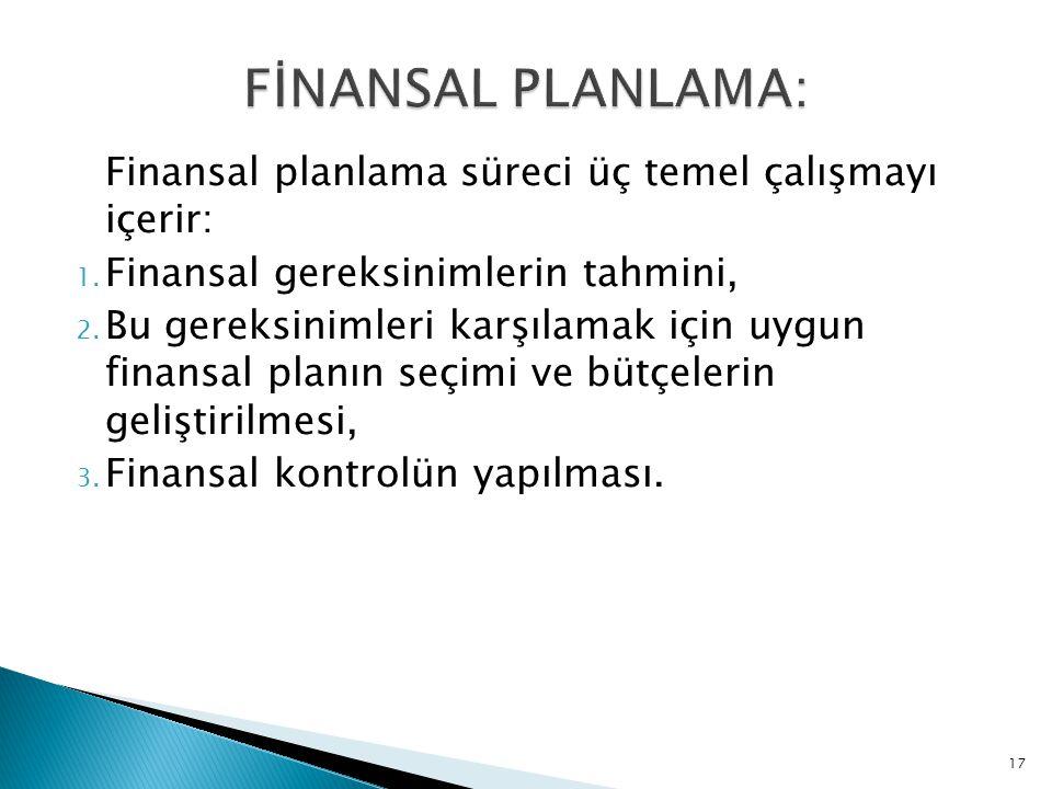 Finansal planlama süreci üç temel çalışmayı içerir: 1. Finansal gereksinimlerin tahmini, 2. Bu gereksinimleri karşılamak için uygun finansal planın se