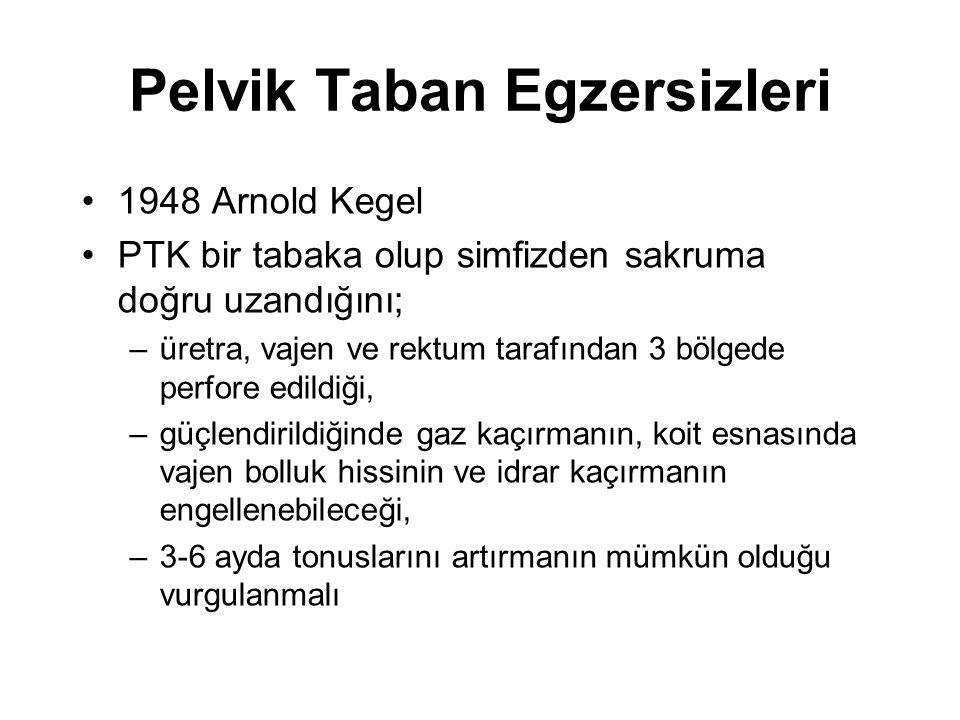Pelvik Taban Egzersizleri 1948 Arnold Kegel PTK bir tabaka olup simfizden sakruma doğru uzandığını; –üretra, vajen ve rektum tarafından 3 bölgede perf