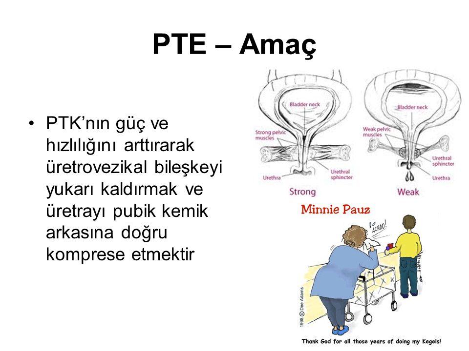 PTE – Amaç PTK'nın güç ve hızlılığını arttırarak üretrovezikal bileşkeyi yukarı kaldırmak ve üretrayı pubik kemik arkasına doğru komprese etmektir