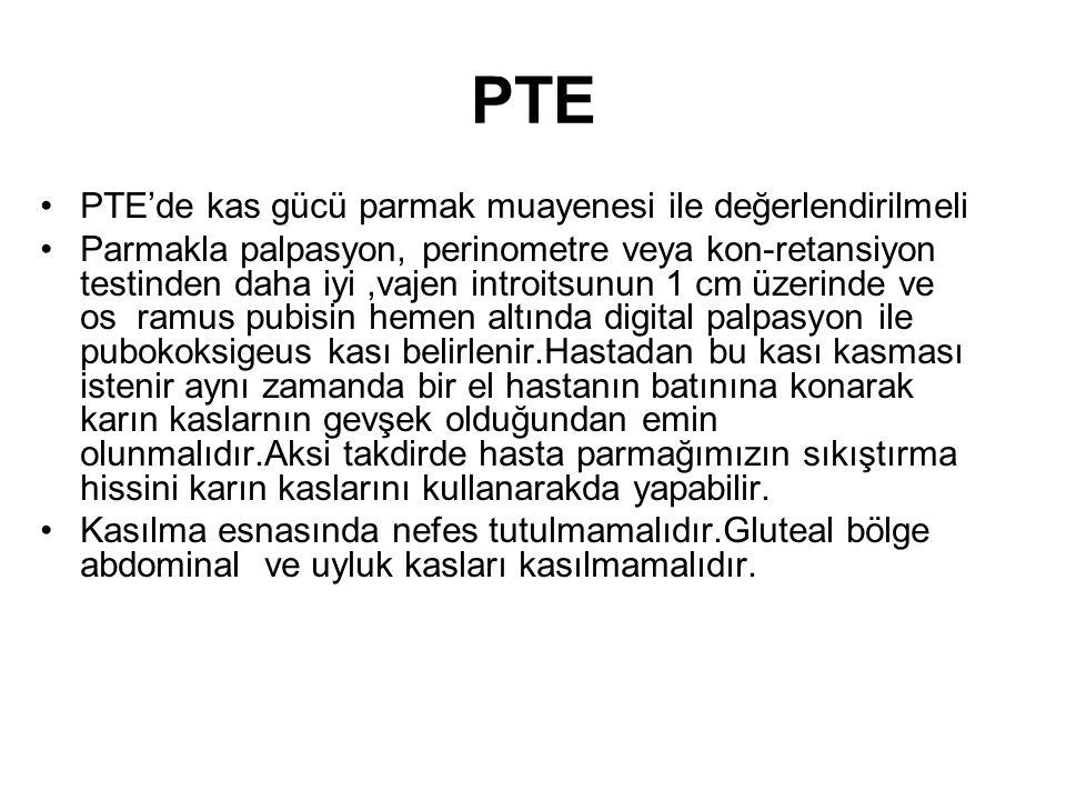 PTE PTE'de kas gücü parmak muayenesi ile değerlendirilmeli Parmakla palpasyon, perinometre veya kon-retansiyon testinden daha iyi,vajen introitsunun 1