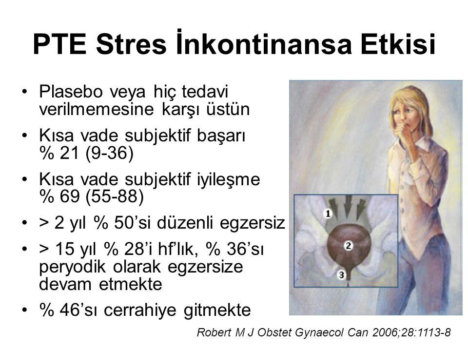 PTE Stres İnkontinansa Etkisi Plasebo veya hiç tedavi verilmemesine karşı üstün Kısa vade subjektif başarı % 21 (9-36) Kısa vade subjektif iyileşme %