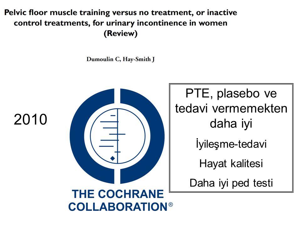 2010 PTE, plasebo ve tedavi vermemekten daha iyi İyileşme-tedavi Hayat kalitesi Daha iyi ped testi