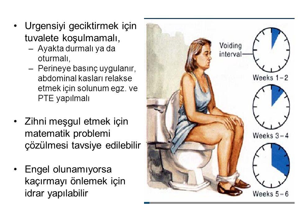 Urgensiyi geciktirmek için tuvalete koşulmamalı, –Ayakta durmalı ya da oturmalı, –Perineye basınç uygulanır, abdominal kasları relakse etmek için solu