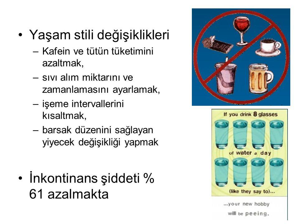 Yaşam stili değişiklikleri –Kafein ve tütün tüketimini azaltmak, –sıvı alım miktarını ve zamanlamasını ayarlamak, –işeme intervallerini kısaltmak, –ba