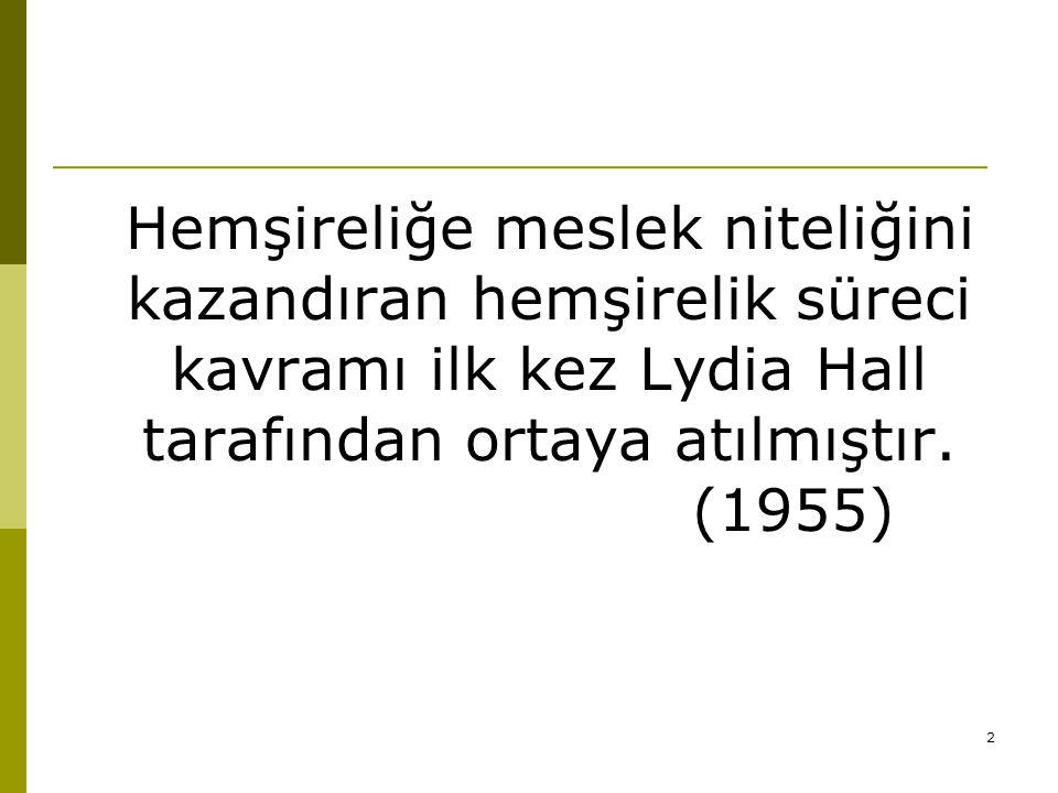 2 Hemşireliğe meslek niteliğini kazandıran hemşirelik süreci kavramı ilk kez Lydia Hall tarafından ortaya atılmıştır. (1955)