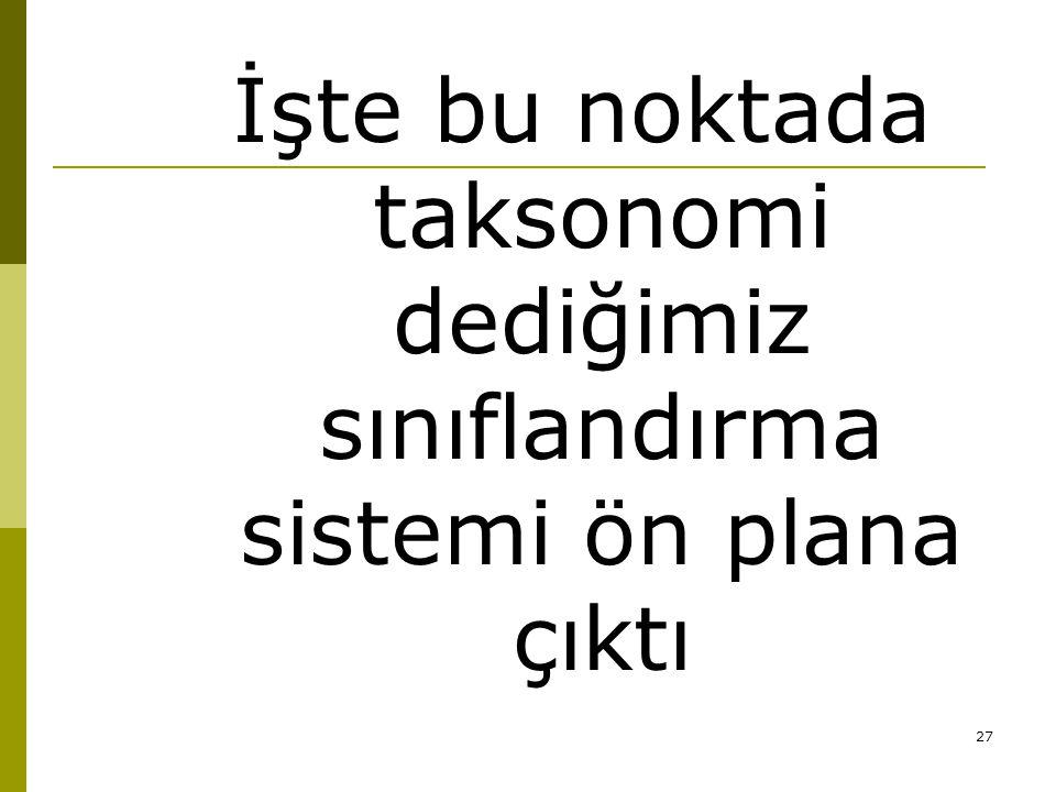 27 İşte bu noktada taksonomi dediğimiz sınıflandırma sistemi ön plana çıktı