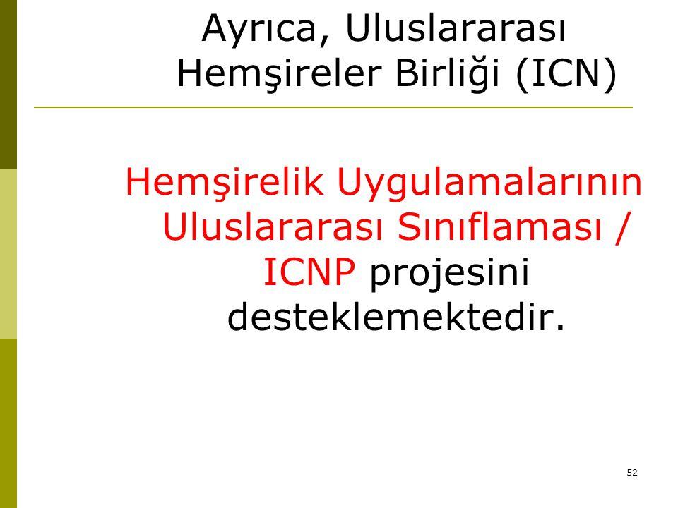 52 Ayrıca, Uluslararası Hemşireler Birliği (ICN) Hemşirelik Uygulamalarının Uluslararası Sınıflaması / ICNP projesini desteklemektedir.