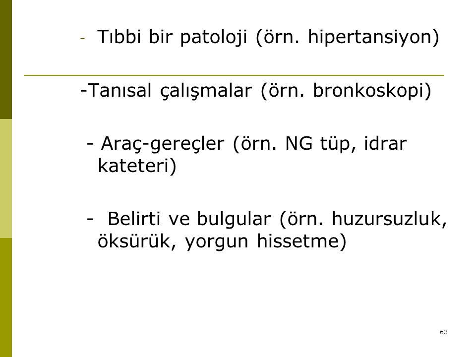 63 - Tıbbi bir patoloji (örn. hipertansiyon) -Tanısal çalışmalar (örn. bronkoskopi) - Araç-gereçler (örn. NG tüp, idrar kateteri) - Belirti ve bulgula