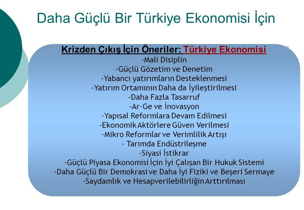 Daha Güçlü Bir Türkiye Ekonomisi İçin Krizden Çıkış İçin Öneriler: Türkiye Ekonomisi -Mali Disiplin -Güçlü Gözetim ve Denetim -Yabancı yatırımların De