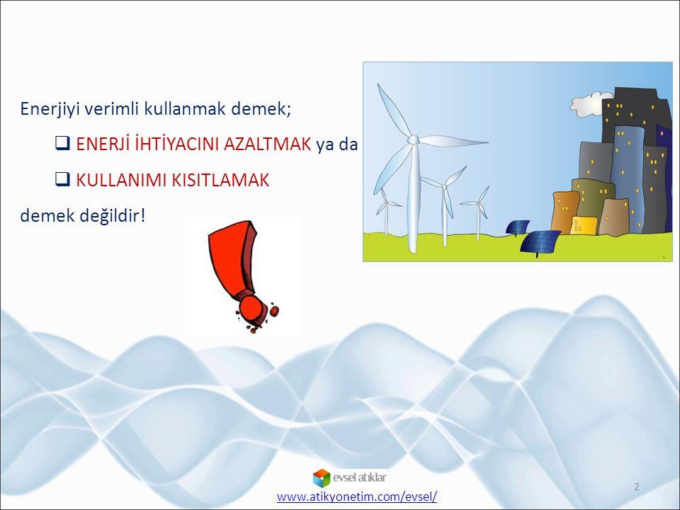 Enerjiyi verimli kullanmak demek;  ENERJİ İHTİYACINI AZALTMAK ya da  KULLANIMI KISITLAMAK demek değildir! 2 www.atikyonetim.com/evsel/