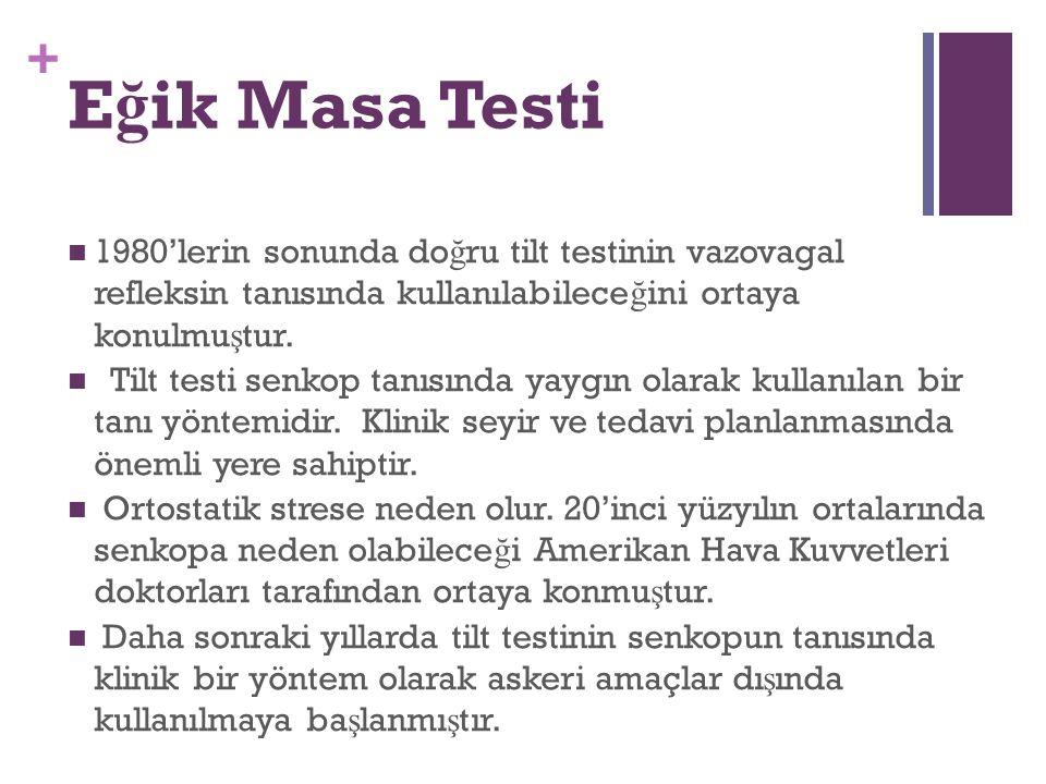 + E ğ ik Masa Testi 1980'lerin sonunda do ğ ru tilt testinin vazovagal refleksin tanısında kullanılabilece ğ ini ortaya konulmu ş tur. Tilt testi senk