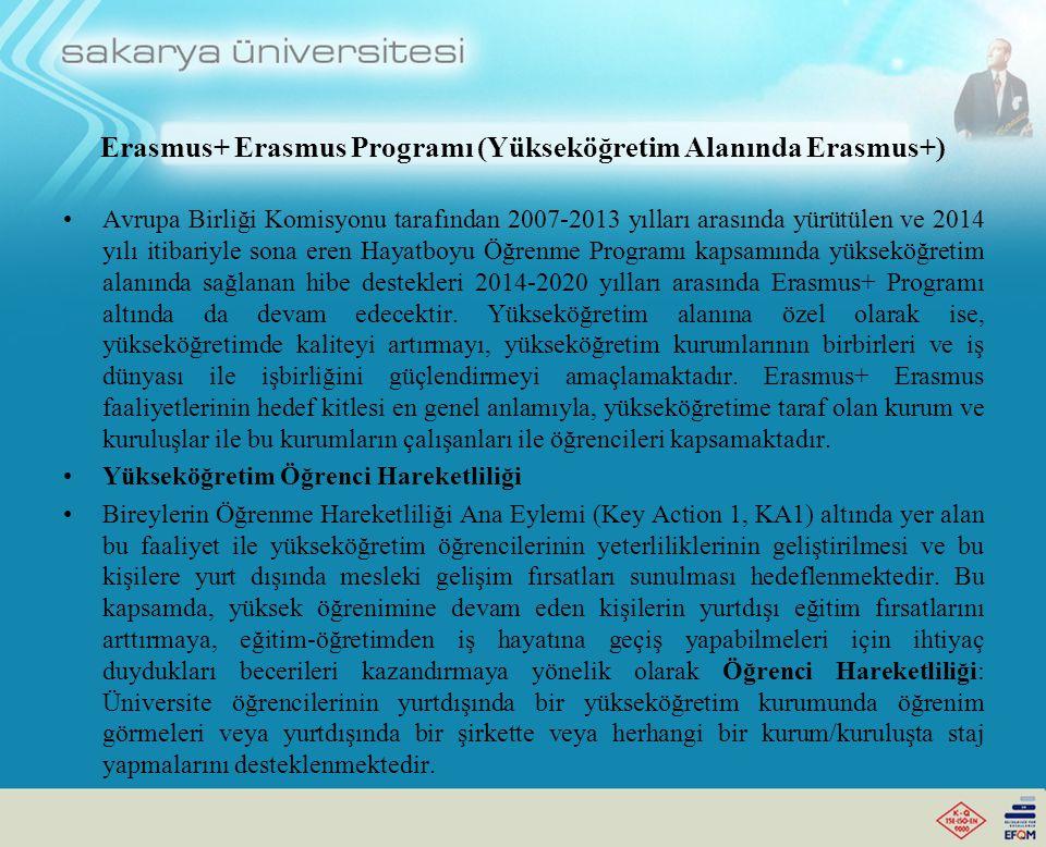 Erasmus+ Erasmus Programı (Yükseköğretim Alanında Erasmus+) Avrupa Birliği Komisyonu tarafından 2007-2013 yılları arasında yürütülen ve 2014 yılı itibariyle sona eren Hayatboyu Öğrenme Programı kapsamında yükseköğretim alanında sağlanan hibe destekleri 2014-2020 yılları arasında Erasmus+ Programı altında da devam edecektir.