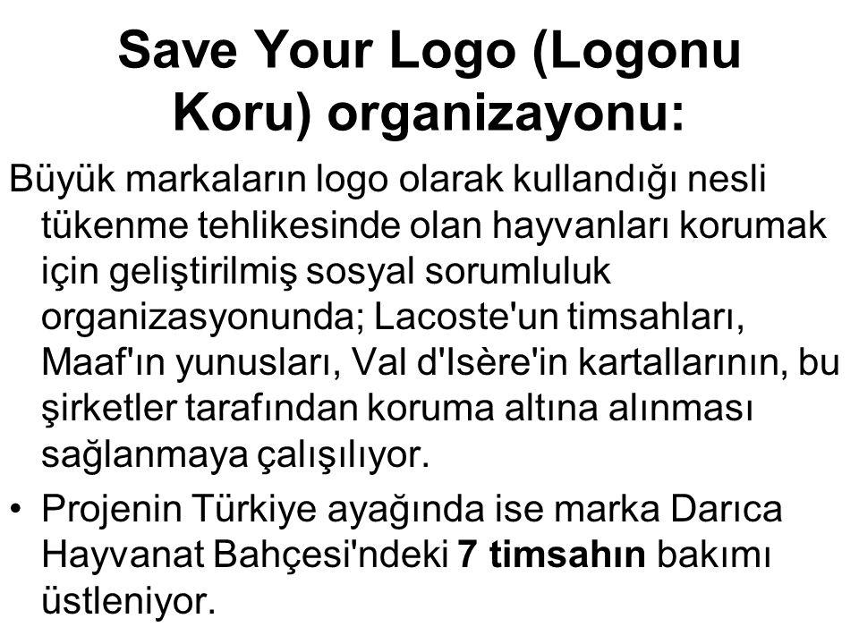 Save Your Logo (Logonu Koru) organizayonu: Büyük markaların logo olarak kullandığı nesli tükenme tehlikesinde olan hayvanları korumak için geliştirilm